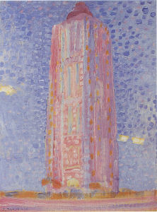 Mondrian A684 Lighthouse in Westkapelle in Pink, 1909