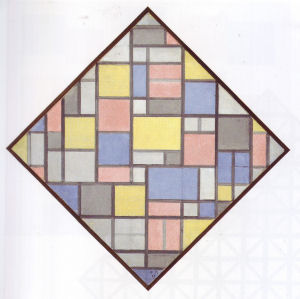 Mondrian B100 Composition with Grid 6: Lozenge Composition with Colours, 1919