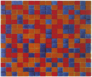 Mondrian B102 Composition with Grid 8: Checkerboard Composition with Dark Colours 1919