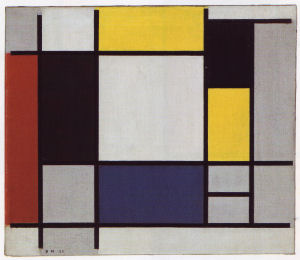 Mondrian B114 Composition with Yellow, Red, Black, Blue and Grey, 1920