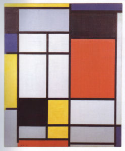 Mondrian B116 Composition with Yellow, Blue, Black, Red, and Grey, 1921