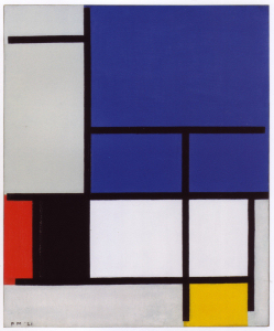 Mondrian B117 Composition with Large Blue Plane, Red, Black, Yellow and Grey, 1921