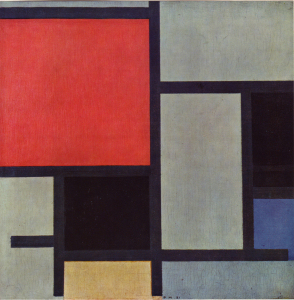 Mondrian B120 Composition with Large Red Plane, Black, Blue, Yellow and Grey, 1921