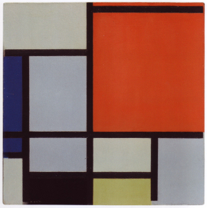 Mondrian B122 Tableau with Large Red Plane, Blue, Black, Light Green and Greyish Blue, 1921