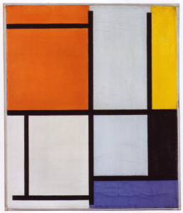 Mondrian B123 Tableau 3, with Orange-Red, Yellow, Black, Blue and Grey, 1921