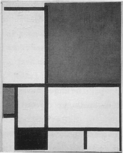 Mondrian B124 Composition with Large Red Plane, Blue, Grey, Black, and Yellow, 1921