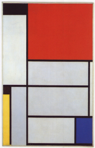 Mondrian B126 Tableau 1, with Black, Red, Yellow, Blue and Light Black, 1921