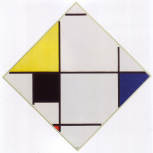Mondrian B127 Lozenge Composition with Yellow, Black, Blue, Red and Grey, 1921