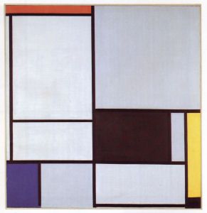Mondrian B129 Tableau II with Red, Black, Yellow, Blue and Light Blue, 1921