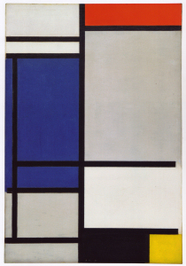 Mondrian B132 Composition with Red, Blue, Black, Yellow and Grey, 1921
