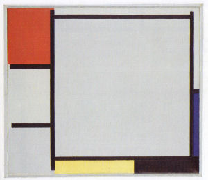 Mondrian B137 Composition with Red, Blue, Yellow, Black, and Grey, 1922