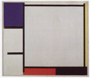 Mondrian B138 Composition with Blue, Yellow, Red, Black, and Grey, 1922