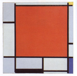 Mondrian B144 Composition with Large Red Plane, Bluish Grey, Yellow, Black and Blue, 1922