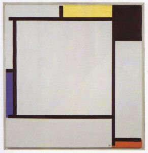 Mondrian B146 Tableau 2 with Yellow, Black, Blue, Red and Grey, 1922