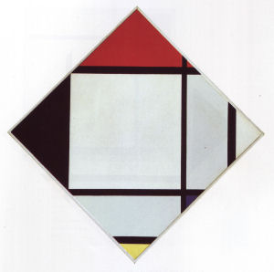 Mondrian B152 Lozenge Composition with Red, Black, Blue and Yellow, 1925