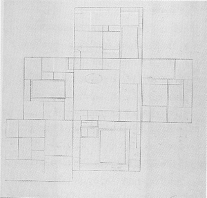 Mondrian B168 Colour Scheme for the Decoration of the Library-Study of Ida Bienert, Dresden, 1926