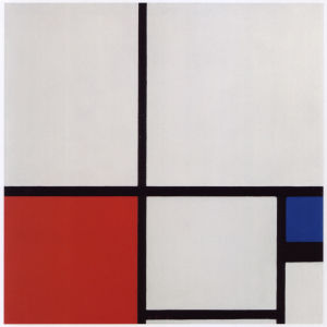 Mondrian B227 Composition No.1 with Red and Blue, 1931