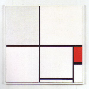 Mondrian B232 Composition C with Grey and Red, 1932