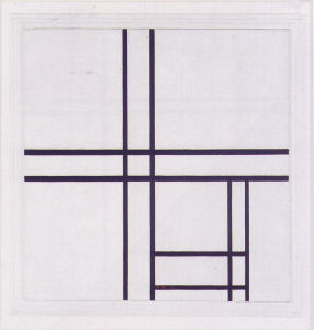 Mondrian B243 Composition in Black and White with Double Lines, 1934