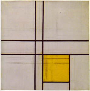 Mondrian B248 Composition with Double Lines and Yellow (unfinished), 1934