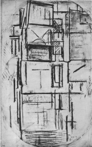 Mondrian B52 Side Façade: Study for Composition in Oval with Colour Planes 1, 1914