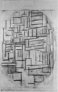 Mondrian B54 Façade: Study for Composition in Oval with Colour Planes 2, 1914