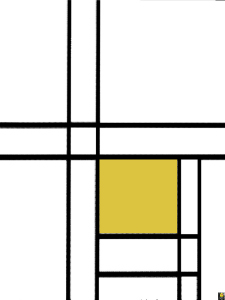 Mondrian  B242 Composition with Double Lines and Yellow, 1934 (Reconstruction)