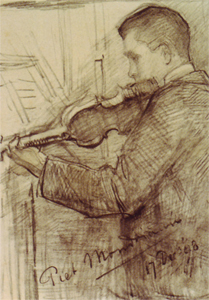 Mondrian A118 F.H. Mondriaan Playing the Violin, 1898