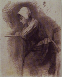 Mondrian A123 Girl with Bonnet Writing, c.1896-97
