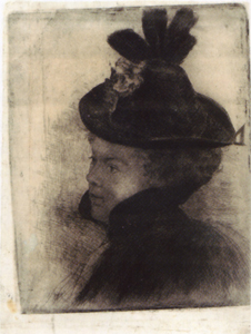 Mondrian A124 Young Woman with Cape and Hat: Etching, c.1899-1900