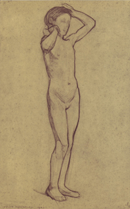 Mondrian A126 Standing Nude Girl with Raised Arms, c.1900
