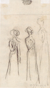 Mondrian A130 Three Standing Female Figures, c.1897-98 (verso of A58)