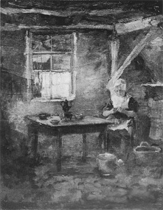 Mondrian A146 Farm Interior with Woman Peeling Potatoes, c.1898-99