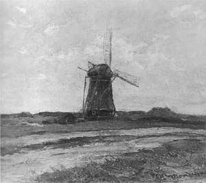 Mondrian A147 Windmill in Sunlight near a Stream, c.1897-98