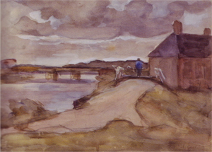 Mondrian A153 Farmstead along a Canal with Bridge and Farmer, c.1897-99