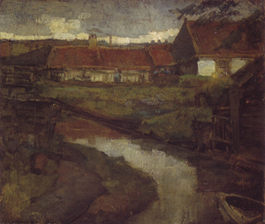 Mondrian A154 Farmstead and Irrigation Ditch with Prow of Rowboat, 1898-99
