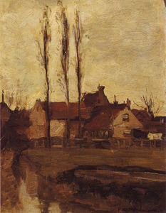 Mondrian A156 Three Italian Poplars and Buildings, c.1898