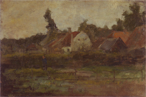 Mondrian A158 Farm Buildings with Fence in Foreground, c.1898