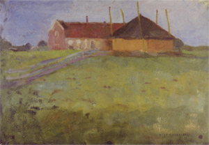 Mondrian A159 Farm Building with Haystack Viewed along the Horizon, 1898-99