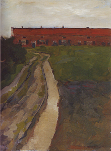 Mondrian A160 Country Lane with Row of Workers' Houses, c.1898-99