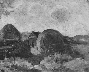 Mondrian A163 Farm Sheds and Haystacks in the Dunes, c.1898-1900