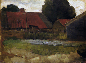 Mondrian A167 Farmstead in Het Gooi with Three Buildings, c.1898-99