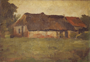 Mondrian A170 Farm Buildings in Het Gooi, Viewed from a Field, c.1898