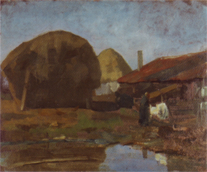 Mondrian A172 Haystacks, Farm Building and Farm Woman with the Wash, c.1898