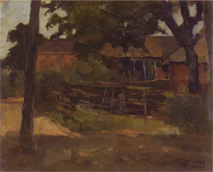 Mondrian A173 Farmstead in Het Gooi, Viewed between Trees and over Fence, 1898-99