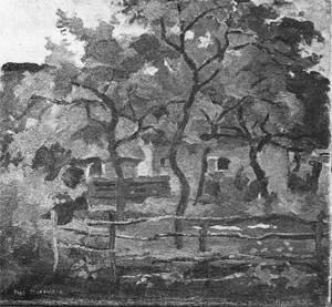 Mondrian A174 Farm Building in Het Gooi, Fence and Trees in the Foreground, c.1898-1902