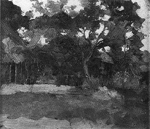 Mondrian A175 Farm Buildings in Het Gooi Veiled by Trees, c.1898-1902