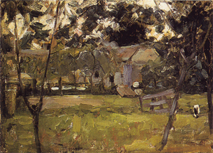 Mondrian A176 Farmyard in Het Gooi Flanked by Saplings, 1901-1902