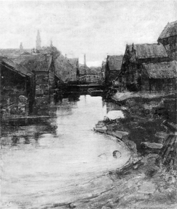 Mondrian A179 Lange Bleekerssloot with Tower of the West Church, 1898