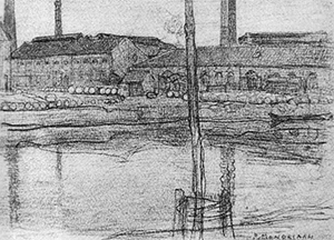 Mondrian A189 The Royal Wax Candle Factory, Drawing, c.1900-01
